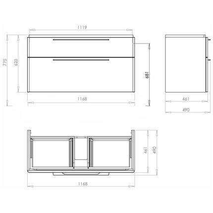 Dulap baza Kolo Traffic cu doua sertare 116.8 x 62.5 x 46.1 cm antracit