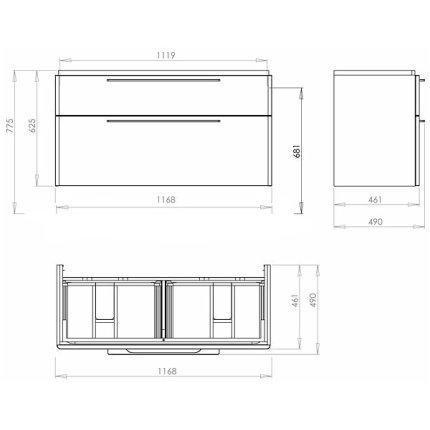 Dulap baza pentru lavoar dublu Kolo Traffic cu doua sertare 116.8 x 62.5 x 46.1 cm antracit
