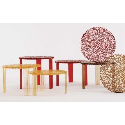Masuta Kartell T-Table design Patricia Urquiola, 50cm, h 28cm, chihlimbar transparent