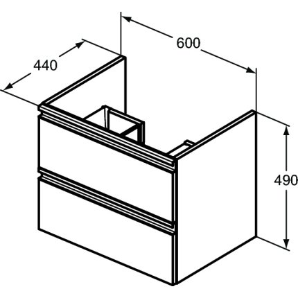Dulap baza Ideal Standard Tesi 60x49x44mm cu doua sertare, negru mat