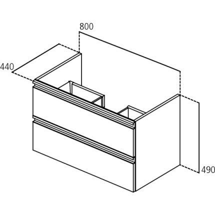 Dulap baza suspendat Ideal Standard Tesi 80x49x44cm cu doua sertare, albastru mat