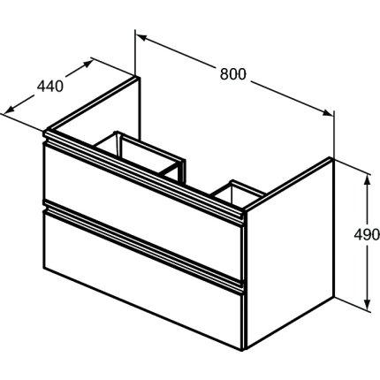 Dulap baza Ideal Standard Tesi 80x49x44mm cu doua sertare, negru mat