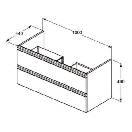 Dulap baza Ideal Standard Tesi 100cm cu 2 sertare cu inchidere lenta, gri deschis
