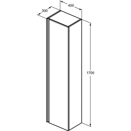 Dulap inalt suspendat Ideal Standard Tesi cu o usa, 40x30x170cm, albastru mat