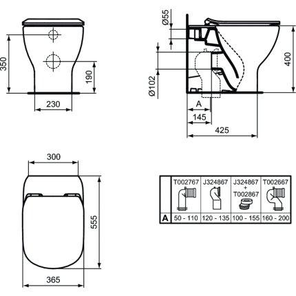 Vas WC Ideal Standard Tesi AquaBlade back-to-wall pentru rezervor ingropat, negru mat