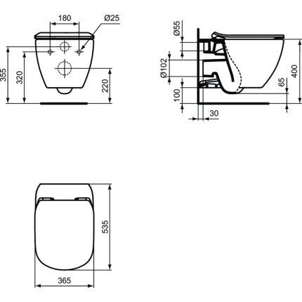 Vas WC suspendat Ideal Standard Tesi AquaBlade, negru mat