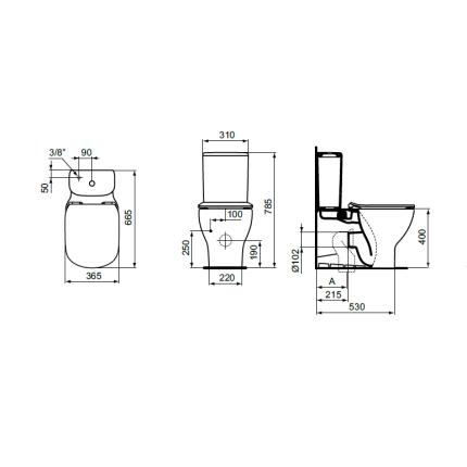 Vas WC Ideal Standard Tesi AquaBlade back-to-wall