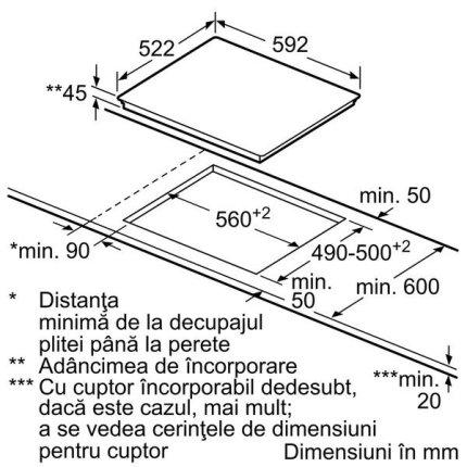 Plita vitroceramica incorporabila Neff Line T11B22X2 60cm, 3 zone, fara rama