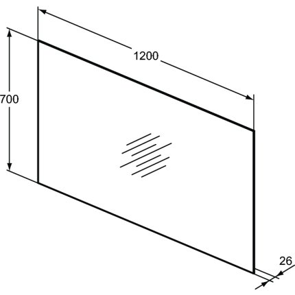 Oglinda Ideal Standard Mirror & Light Ambient cu iluminare LED, 120x70cm