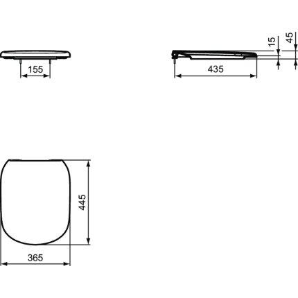 Capac WC Ideal Standard Tesi cu inchidere lenta, negru mat
