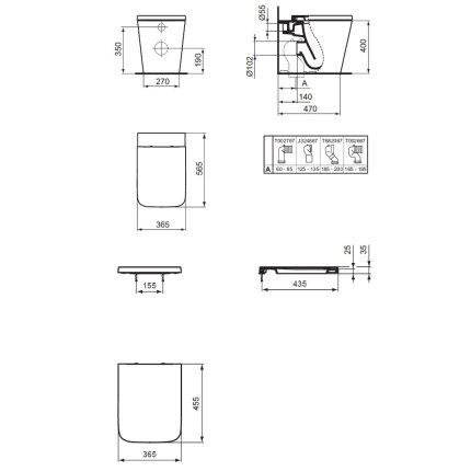 Vas wc Ideal Standard Blend Cube Aquablade back-to-wall pentru rezervor ingropat