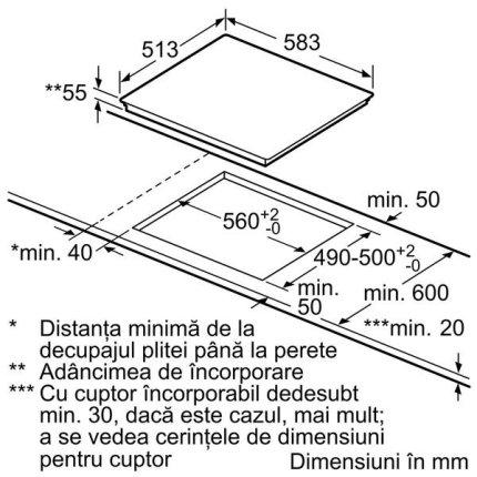 Plita cu inductie incorporabila Neff Line T36BD60N1 60cm, 4 zone, Roasting zone, rama inox