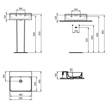 Lavoar Ideal Standard Conca 50cm, fara orificiu baterie, montare pe mobilier, finisaj suplimentar spate