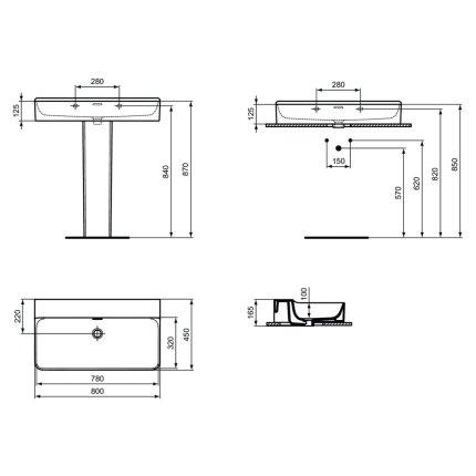 Lavoar Ideal Standard Conca 80cm, fara orifciu baterie, montare pe mobilier, finisaj suplimentar spate