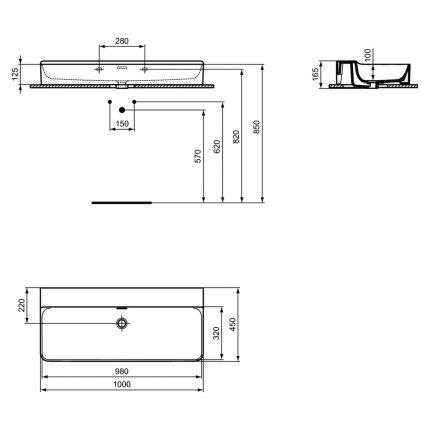 Lavoar Ideal Standard Conca 100cm, fara orificiu baterie, montare pe mobilier, finisaj suplimentar spate