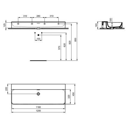 Lavoar Ideal Standard Conca 120cm, fara orificiu baterie, montare pe mobilier, finisaj suplimentar spate