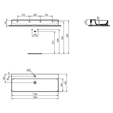 Lavoar Ideal Standard Conca 120cm, fara preaplin, montare pe mobilier, finisaj suplimentar spate