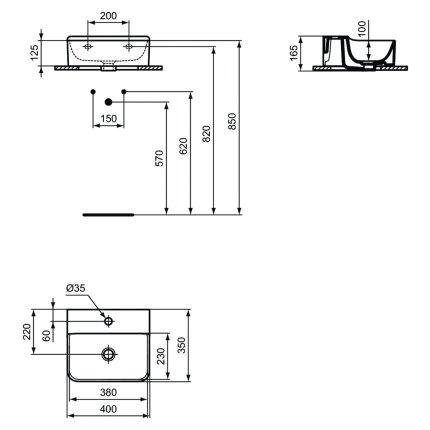 Lavoar Ideal Standard Conca 40cm, fara preaplin, montare pe mobilier, finisaj suplimentar spate