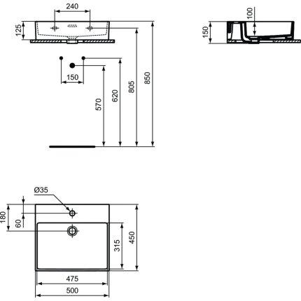 Lavoar Ideal Standard Extra 50cm, montare pe mobilier, finisaj suplimentar spate