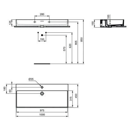 Lavoar Ideal Standard Extra 100cm, montare pe mobilier, finisaj suplimentar spate