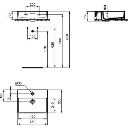 Lavoar Ideal Standard Extra 45cm, montare pe mobilier, finisaj suplimentar spate