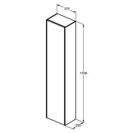 Dulap inalt suspendat Ideal Standard Conca cu o usa 170x37x25cm, stejar inchis