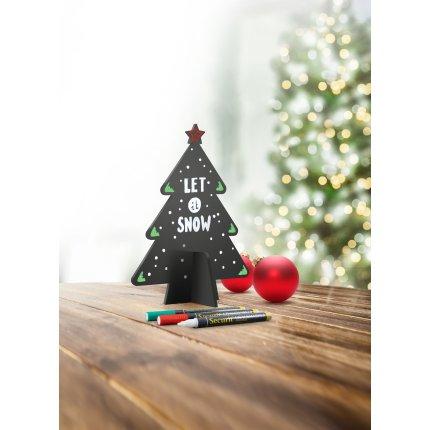 Tabla de scris Securit Silhouette 3D Tree 22x14x4cm, include 3 markere creta, negru