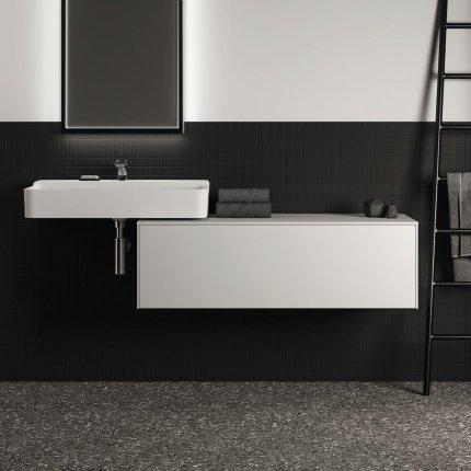 Dulap baza Ideal Standard Conca 120x50.5x37cm cu un sertar, alb mat/alb lucios