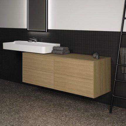 Dulap baza Ideal Standard Conca 160x50.5x55cm cu patru sertare, stejar deschis