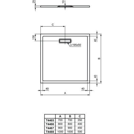 Cadita de dus joasa patrata Ideal Standard Ultra Flat New 70x70cm acril, alb mat