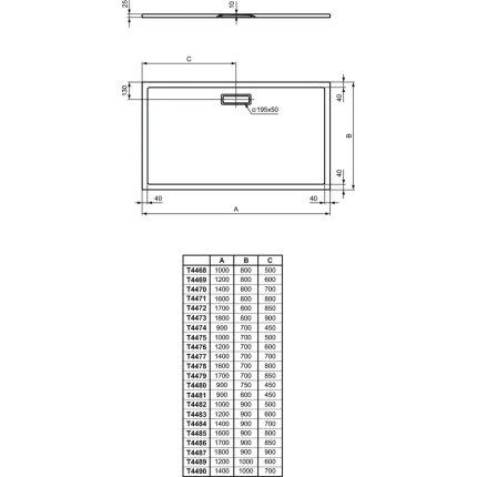 Cadita de dus joasa dreptunghiulara Ideal Standard Ultra Flat New 100x90cm acril, alb mat