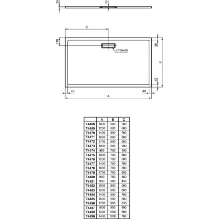Cadita de dus joasa dreptunghiulara Ideal Standard Ultra Flat New 170x90cm acril, alb mat