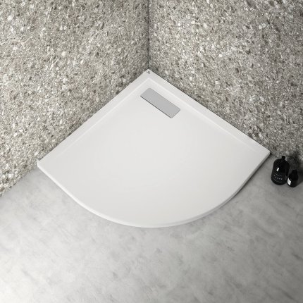 Cadita de dus joasa semirotunda Ideal Standard Ultra Flat New 80x80cm acril, alb mat