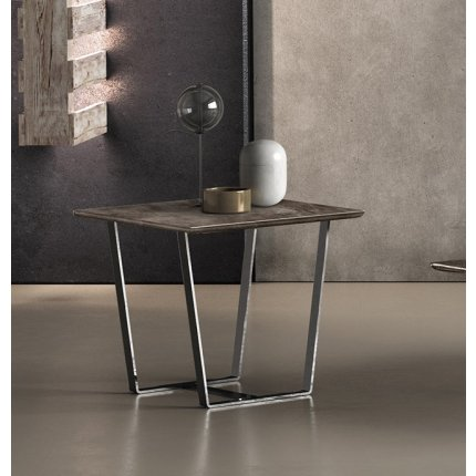 Masuta Gamma T59, piele categoria C, baza metalica, 48x48cm, h45cm, Made in Italy