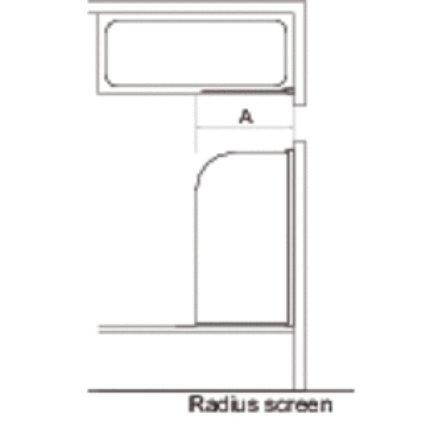 Paravan cada Ideal Standard Connect, un element mobil rotunjit, 80x140cm, profil cromat