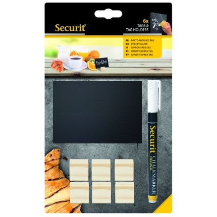 Set 6 table de scris Securit Tag A7 9x10,5x0,3cm cu baza de lemn, include marker creta, Teak