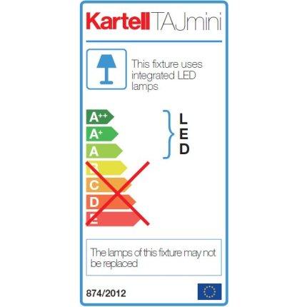 Veioza Kartell Taj Mini design Ferruccio Laviani, LED 2.8W, h33cm, alb mat