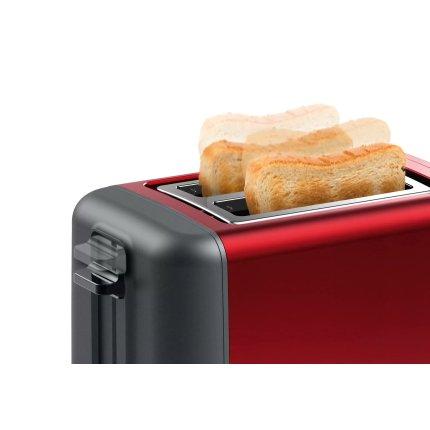 Prajitor de paine Bosch TAT3P424 DesignLine, 2 felii, rosu