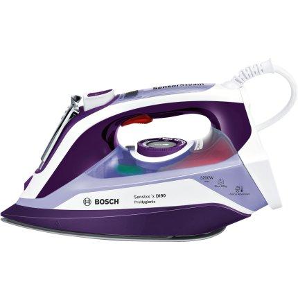 Fier de calcat Bosch TDI903231H Sensixx'x DI90 ProHygienic, 3200W, Sensor Steam, AntiShine, i-Temp Advanced, talpa PalladiumGlissee, sistem 4AntiCalc, alb/violet