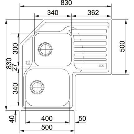 Chiuveta Franke Angolo STX 621-E de colt, picurator dreapta, 830 x 830mm, inox satinat