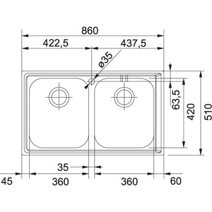 Chiuveta Franke Neptune NEX 620 cu 2 cuve, 860x510mm, inox lucios