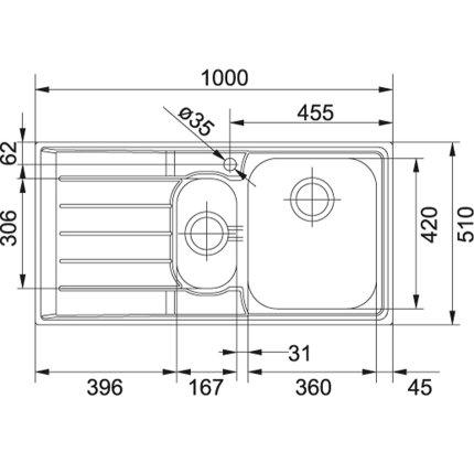 Chiuveta Franke Neptune NEX 651, 2 cuve inegale, picurator stanga, 1000x510mm, inox lucios