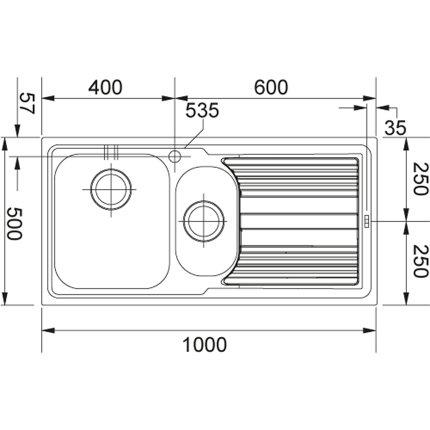 Chiuveta Franke Logica Line LLX 651 slim, picurator stanga, 1000 x 500mm, inox satinat