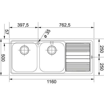Chiuveta Franke Logica Line LLX 621 cu 2 cuve, picurator dreapta, 1160x500mm, inox lucios