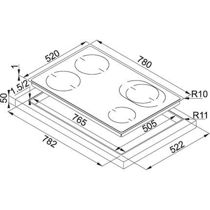 Plita cu inductie incorporabila Franke Frames by Franke FHFS 784 3I 1OVAL T BK cu 4 zone, 780x520mm, Nero