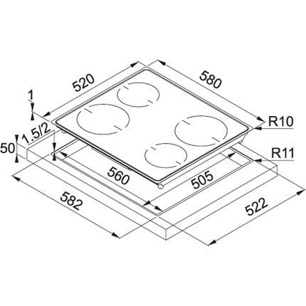 Plita cu inductie incorporabila Franke Frames by Franke FHFS EN 584 4I PWL T BK cu 4 zone, 580x520mm, Nero
