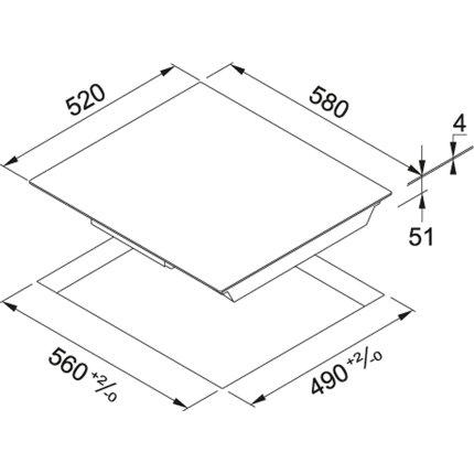 Plita inductie incorporabila Franke Smart FHSM 604 4I BK cu 4 zone, Glass Black