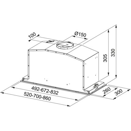 Hota incorporabila Franke BOX FBI 537 XS/BK, 52cm, 660m3/h intensiv, inox / sticla neagra
