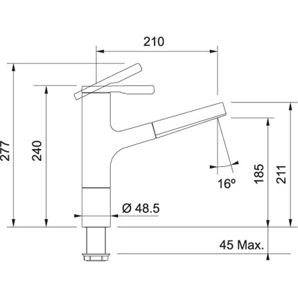 Baterie bucatarie Franke Frames by Franke FS TL PO cu pipa extractibila, aspect inox