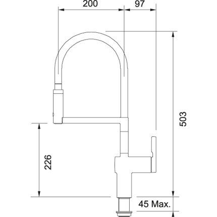 Baterie bucatarie Franke Frames by Franke FS HF SWSP cu pipa flexibila, crom